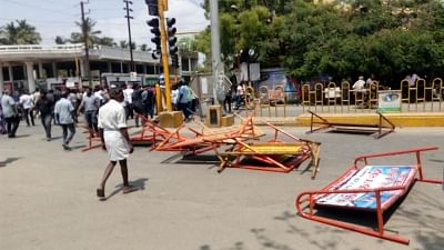 Tuticorin: Protesters damage barricades during a demonstration over their demand for the closure of Vedanta