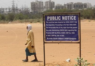 Gurugram: A public notice at the HUDA ground in Gurugram on May 4, 2018. Local administration has assured the Sanyukt Hindu Sangharsh Samiti that there would not be