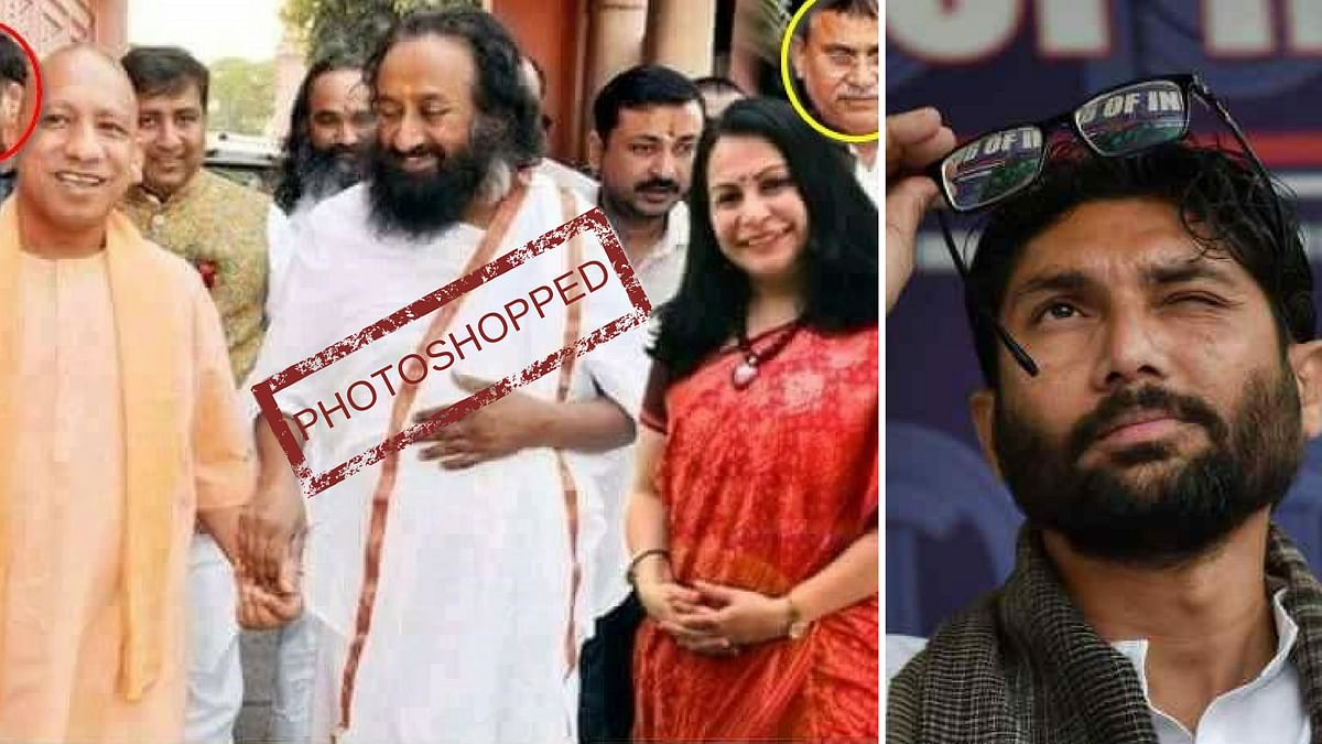 Webqoof: Jignesh Mevani Shares Photoshopped Image of Yogi, Sri Sri