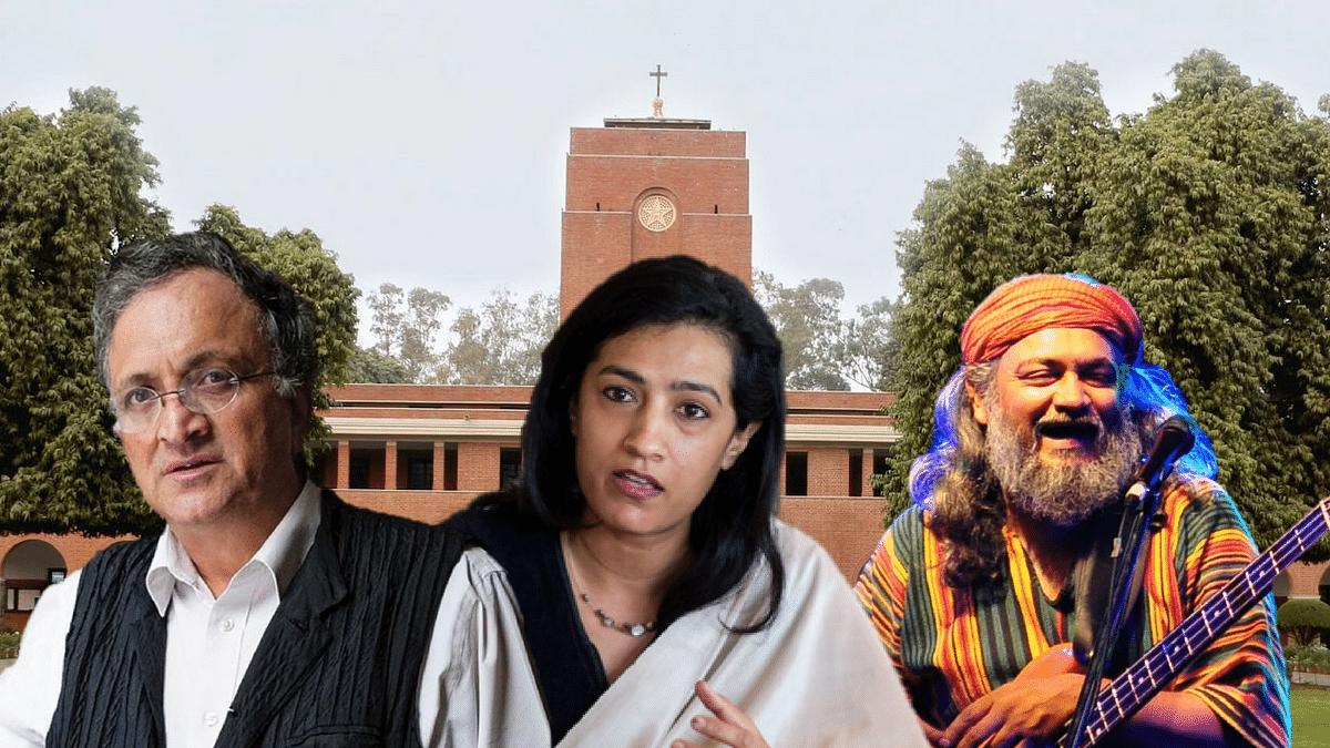 St Stephen's College's alumni Ramachandra Guha, Karuna Nundy and Rahul Ram.