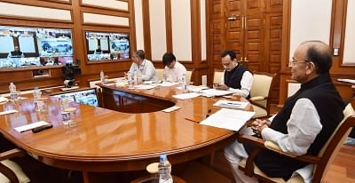 New Delhi: Union Minister for Finance and Corporate Affairs Arun Jaitley chairs the 27th GST Council Meeting via video conference in New Delhi on May 4, 2018. Also seen Finance Secretary cum Revenue Secretary Dr. Hasmukh Adhia. (Photo: IANS/PIB)