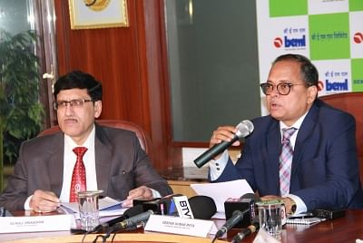 Bengaluru: BEML CMD Deepak Kumar Hota and Director (Finance) Suraj Prakash address a press conference to declare Financial Results for FY 2017-18 in Bengaluru, on May 25, 2018. (Photo: IANS)