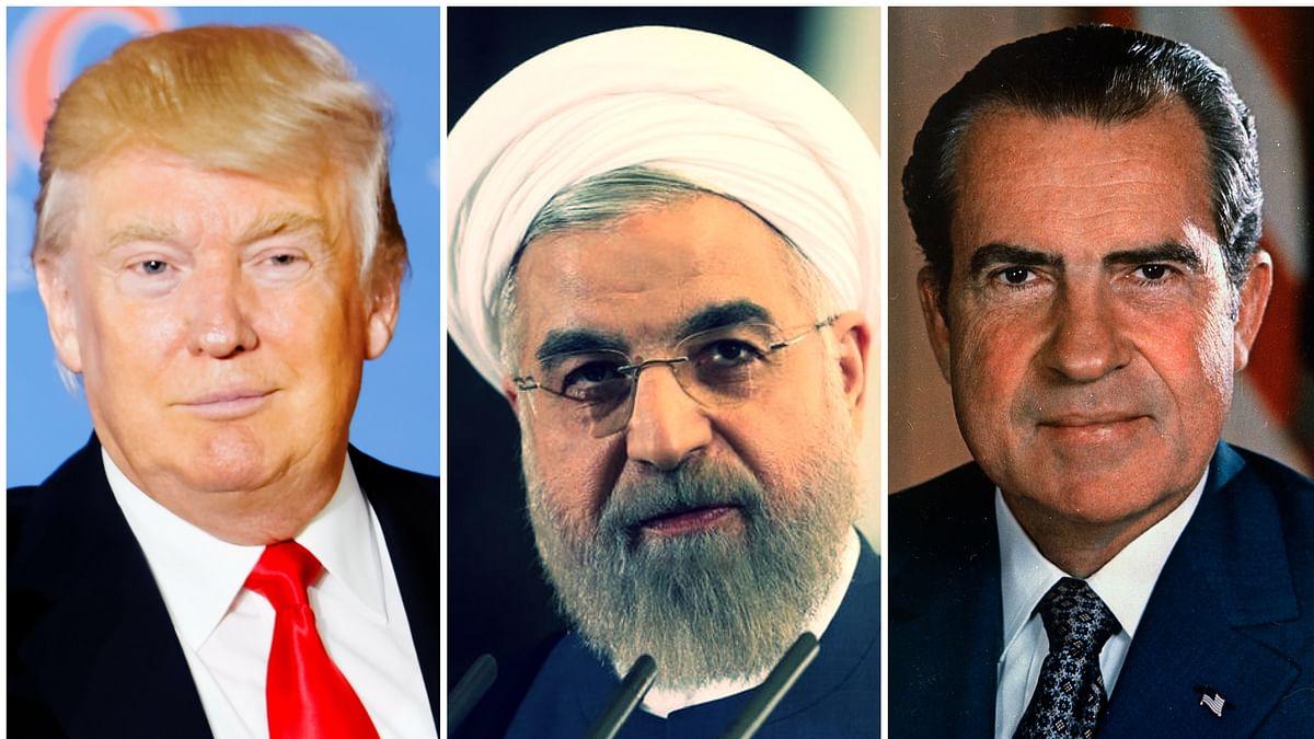 US President Donald Trump (L), Iran President Hassan Rouhani (C) and Former US President Richard Nixon (R)