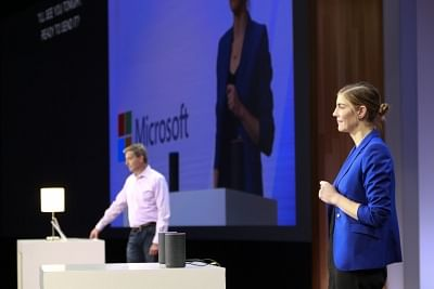 """Microsoft and Amazon showcase the first-ever coming together of Cortana and Alexa - their two Artificial Intelligence (AI)-powered assistants at the """"Build 2018"""" developers"""