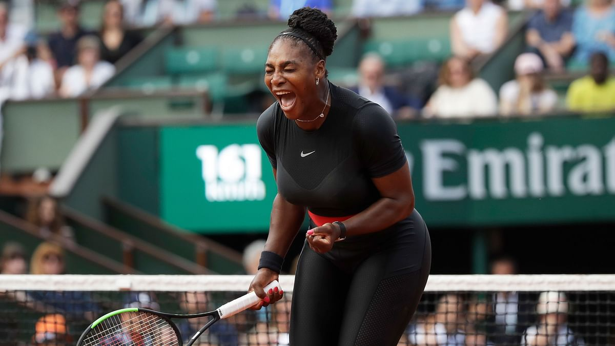 Serena Williams of the US celebrates winning her first round match of the French Open 2018.