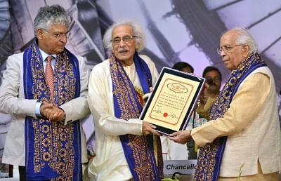 Kolkata: West Bengal Governor Keshari Nath Tripathi confers the degree of D.Litt (honoris causa) to eminent Indian classical vocalist Pandit Amiya Ranjan Bandyopadhyay during 43rd Convocation of Rabindra Bharati University at Jorasanko Thakurbari in Kolkata on May 8, 2018. (Photo: IANS)