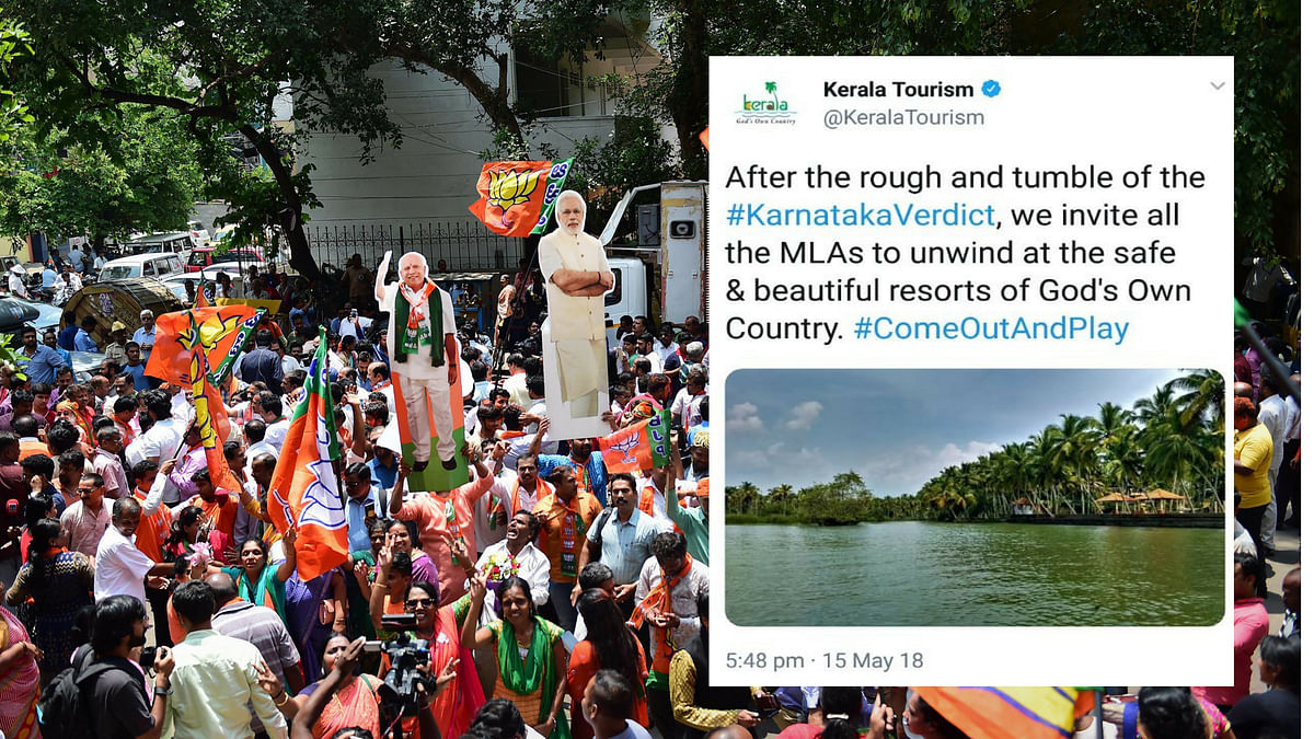BJP workers celebrating when Karnataka Assembly election results were being calculated and the tweet of Kerala Tourism.