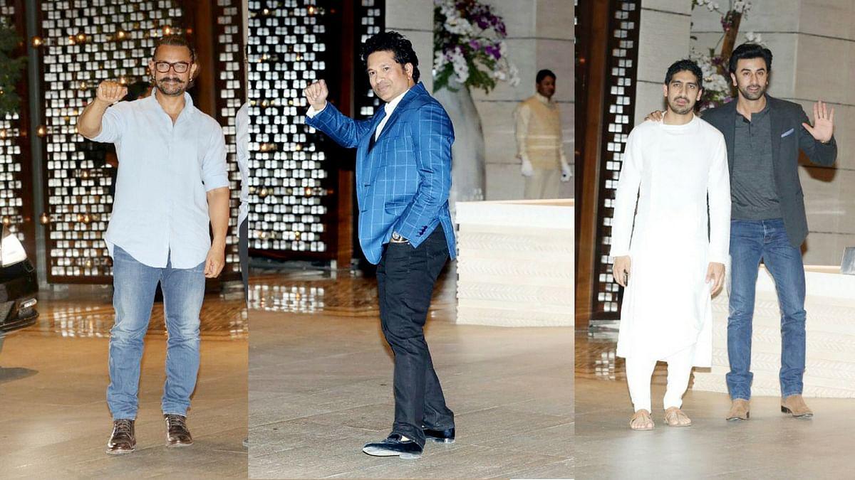 Aamir Khan, Sachin Tendulkar and Ranbir Kapoor at the Isha Ambani - Anand Piramal engagement celebration.