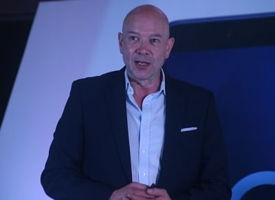 New Delhi: Alcatel Global Marketing Management Centre General Manager Stefan Street addresses at the launch of Alcatel 3V Phablet, in New Delhi on May 29, 2018. (Photo: IANS)