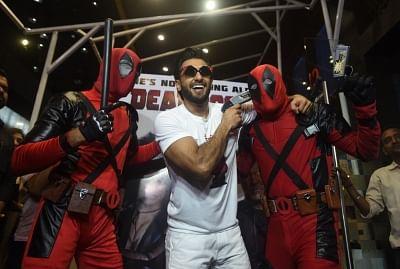 "Mumbai: Actor Ranveer Singh at the special screening of hollywood film ""Deadpool 2"" in Mumbai on May 14, 2018. (Photo: IANS)"
