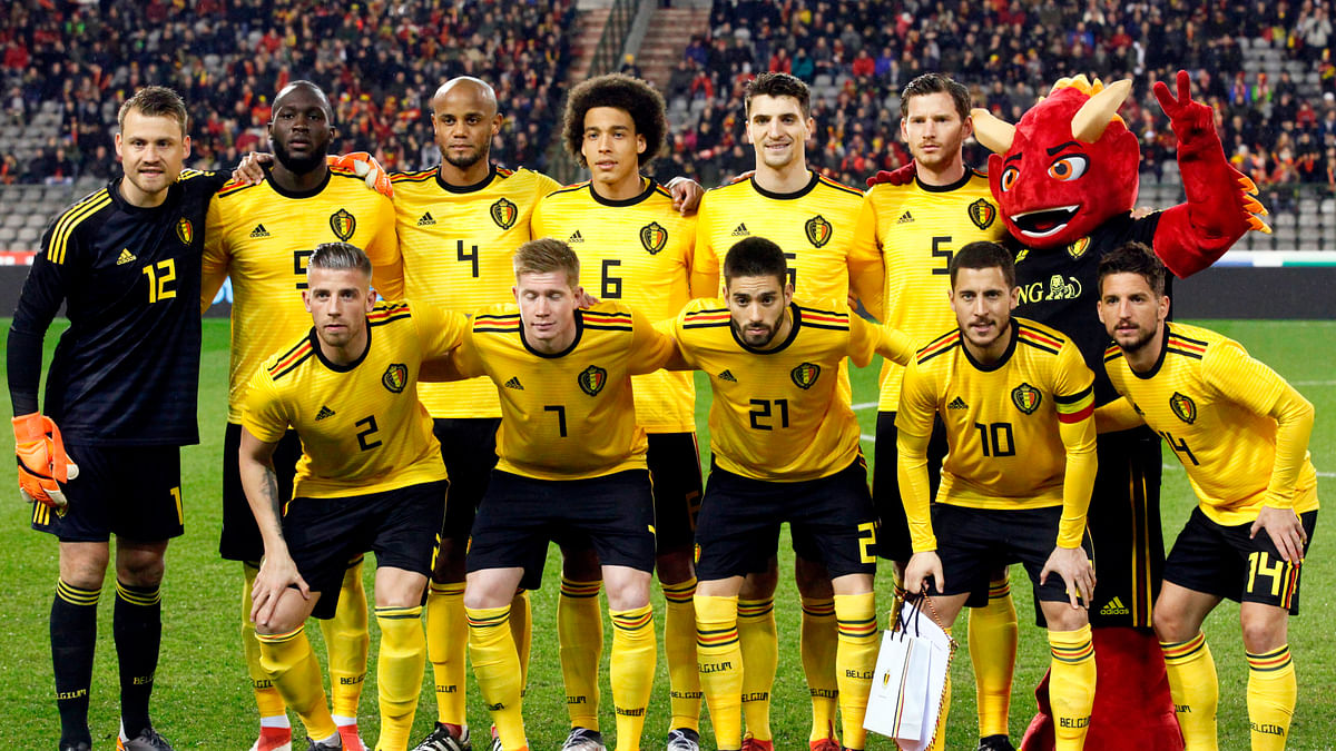 In this photo taken on Tuesday, March 27, 2018, Belgium's National team before a friendly soccer match between Belgium and Saudi Arabia at King Baudouin stadium in Brussels.