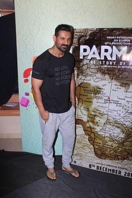 "Mumbai: Actor John Abraham during the promotion of his upcoming film ""Parmanu - The Story of Pokhran"" in Mumbai on July 22, 2017. (Photo: IANS)"
