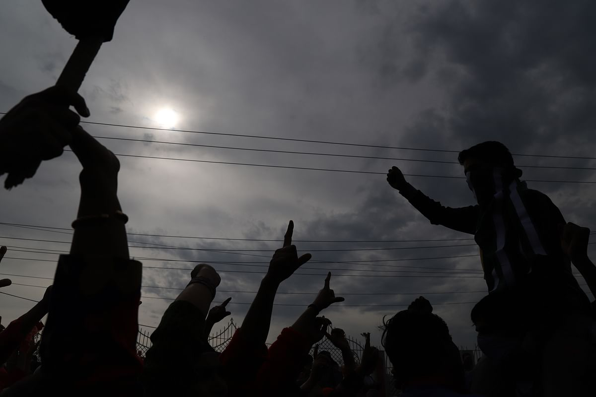 People at Adil Ahmad Yadoo's funeral at Martyr's graveyard Eidgah, Srinagar.