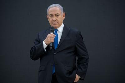 "TEL AVIV, April 30, 2018 (Xinhua) -- Israeli Prime Minister Benjamin Netanyahu reacts at a press conference in Tel Aviv, Israel, on April 30, 2018. Israeli Prime Minister Benjamin Netanyahu on Monday disclosed files which he said could ""prove"" Iran"