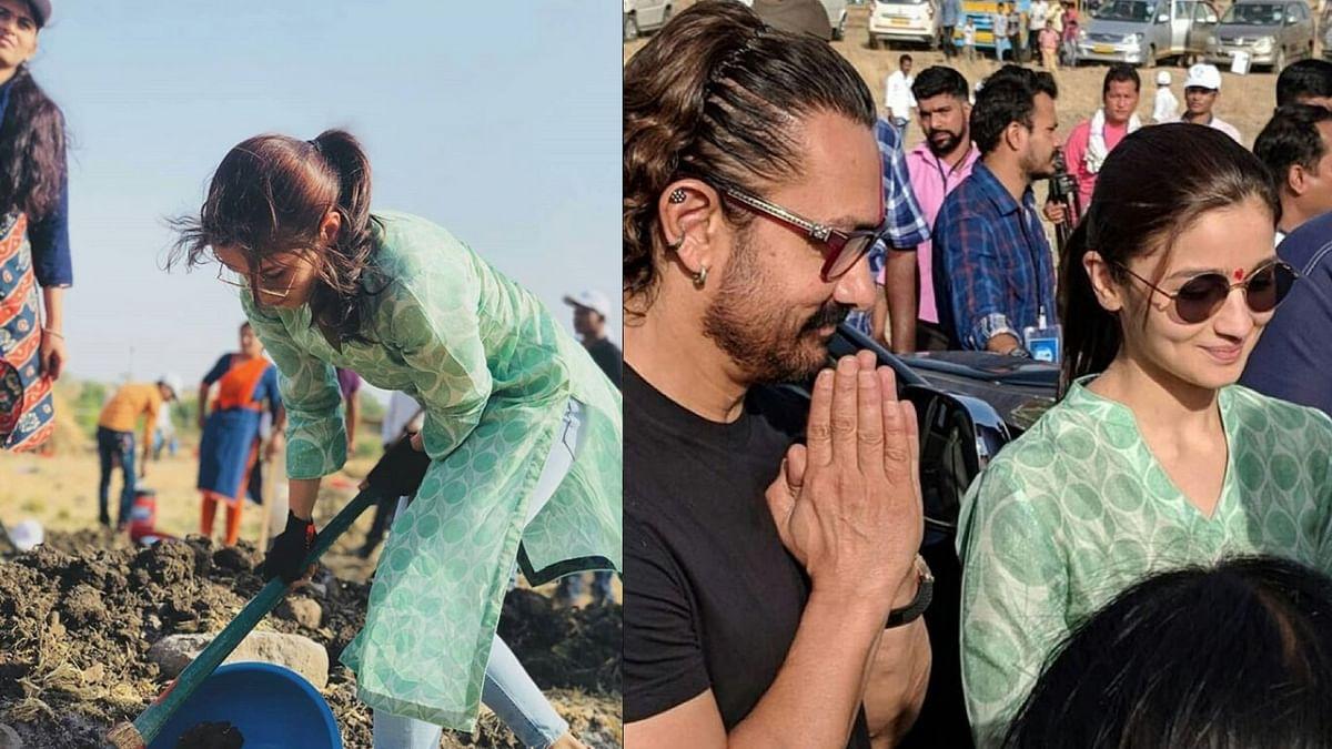 Alia Bhatt and Aamir Khan working for Paani Foundation.