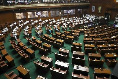 Bengaluru: A view of vacant seats after Karnataka BJP legislators walked out of the Karnataka Assembly ahead of the trust vote moved by Chief Minister H.D. Kumaraswamy in the House in Bengaluru on May 25, 2018. (Photo: IANS)