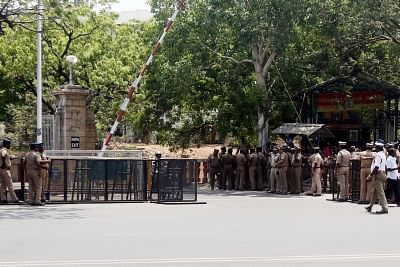 Chennai: Security beefed up at the Secretariat, in Chennai on May 29, 2018. (Photo: IANS)