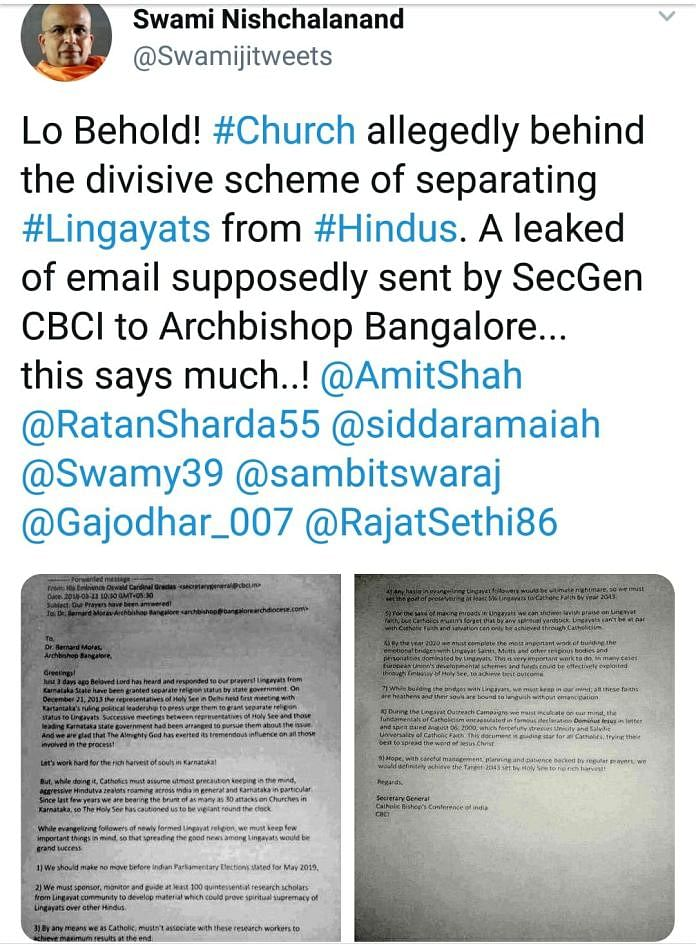 Subramanian Swamy Shares Fake Email About Church in Lingayat Issue