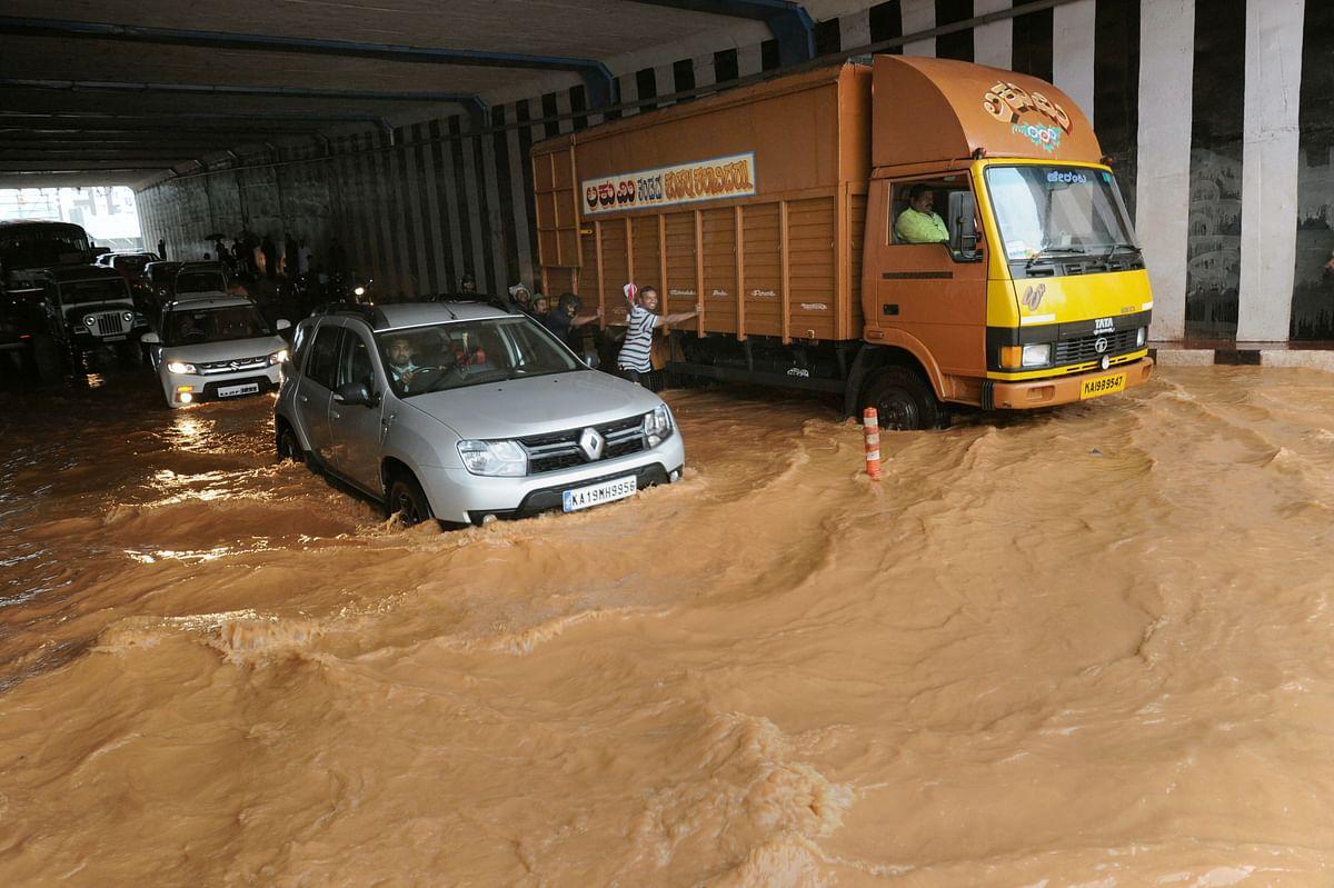 Flooded roads in Mangaluru.