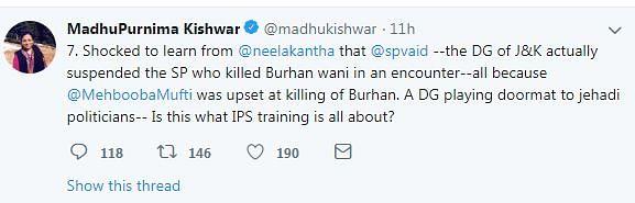 J&K Police Call Out Madhu Kishwar's Misleading Tweet on Burhan