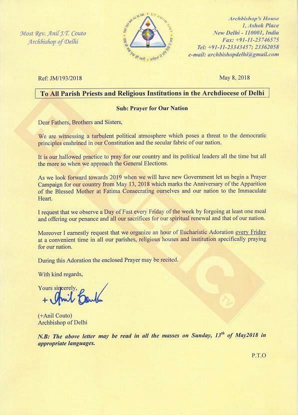 Let's Pray for India Before 2019 Polls: Delhi Archbishop's Letter