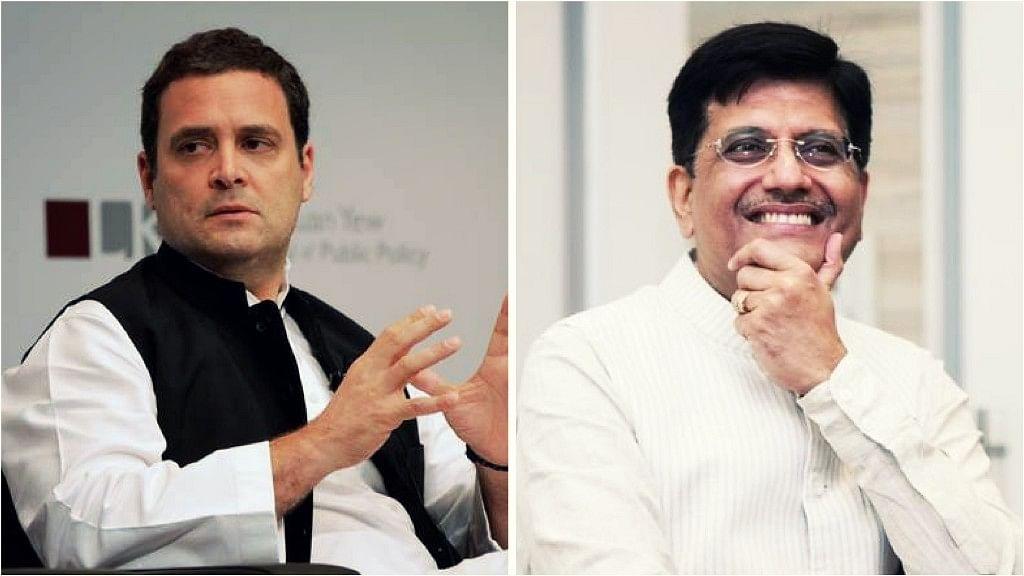 Goyal later responded to Gandhi's tweet saying that he, unlike 'naamdaar' (dynast) Rahul Gandhi, is a 'kaamdaar' (worker).