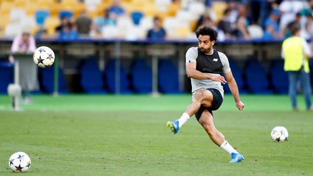Liverpool's Mohamed Salah kicks the ball during a training session at the Olimpiyskiy Stadium in Kiev in Ukraine on Friday,