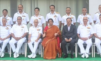 New Delhi: Defence Minister Nirmala Sitharaman, MoS Subhash Bhamre and Naval chief Sunil Lamba during a photo call ahead of naval commanders conference in New Delhi on May 8, 2018. (Photo: IANS)