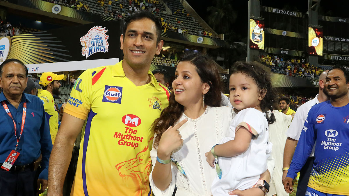 MS Dhoni and his daughter Ziva after the 2018 IPL Final in Mumbai that Chennai Super Kings won.