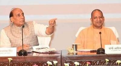 Lucknow: Union Home Minister Rajnath Singh and Uttar Pradesh Chief Minister Yogi Adityanth address a press conference, in Lucknow on May 29, 2018. (Photo: IANS)