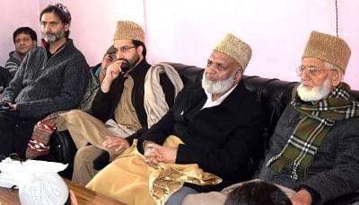 Senior separatist leaders, Syed Ali Geelani, Mirwaiz Umer Farooq and Muhammad Yasin Malik. (Photo: IANS)