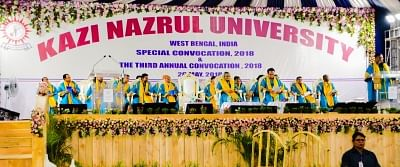 Asansol: West Bengal Education Minister Partha Chatterjee addresses during the third Annual Convocation of Kazi Nazrul University in the presence of Bangladesh Prime Minister Sheikh Hasina and other dignitaries, in West Bengal