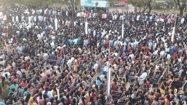 Protesters at the Sterlite plant in Tuticorin