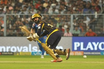 Kolkata: Dinesh Karthik of Kolkata Knight Riders in action during the Eliminator match of IPL 2018 between Kolkata Knight Riders and Rajasthan Royals at the Eden Gardens in Kolkata on May 23, 2018. (Photo: Kuntal Chakrabarty/IANS)
