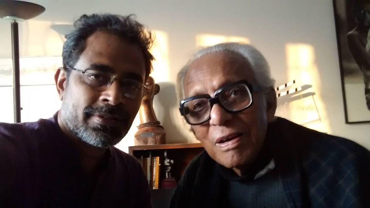 Documentary filmmaker Ramani RV (L) with the legendary Mrinal Sen (R).
