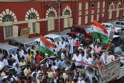 Kolkata: Congress workers led by Adhir Ranjan Chowdhury stage a demonstration after a racket of rotten meat suppliers was busted, in Kolkata on May 4, 20128. (Photo: IANS)