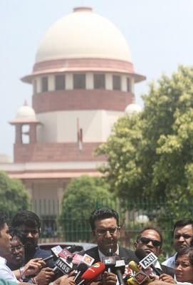 New Delhi: Lawyer Gaurav Bhatia addressing media on CJI impeachment case at Supreme Court lawn in New Delhi on May 8, 2018. (Photo: IANS)
