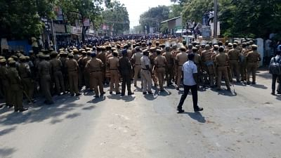 Tuticorin: Police personnel during protests over the demand for the closure of Vedanta
