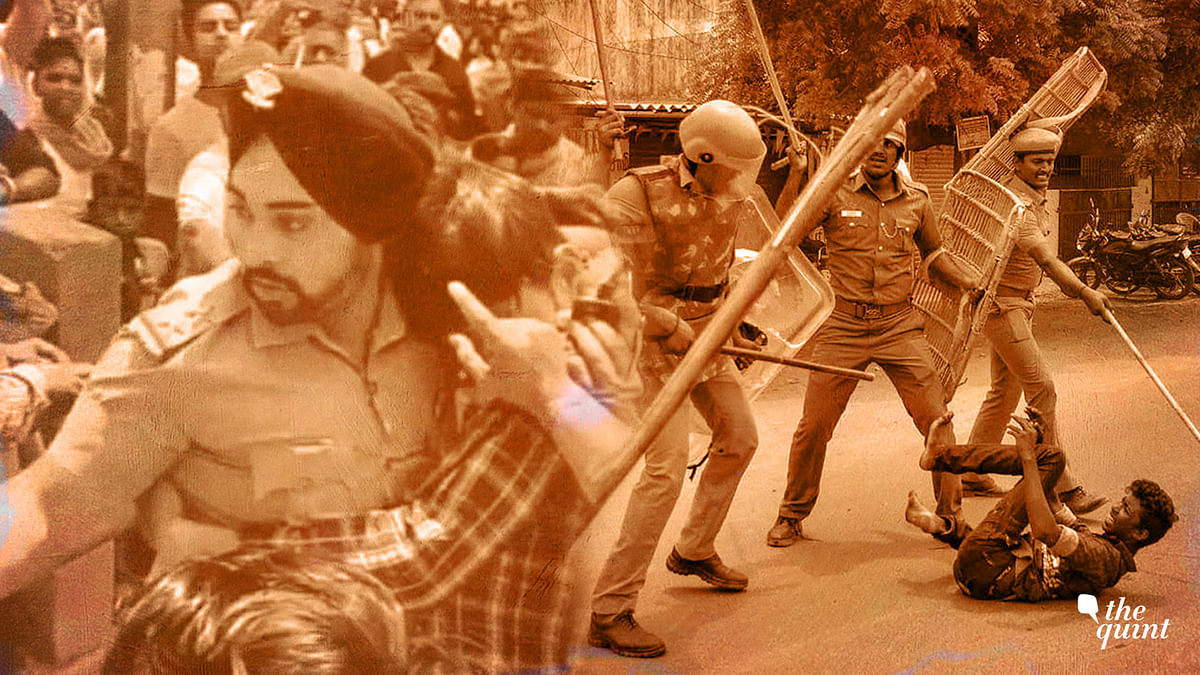 Gagandeep Singh (left) saved a Muslim man from  an angry mob, while (on the right) an anti-Sterlite protester is being beaten up by policemen.