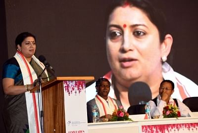 Shillong: Union Minister for Textiles Smriti Irani addresses at the 7th Convocation of National Institute for Fashion Technology in Shillong on May 29, 2018. (Photo: IANS/PIB)
