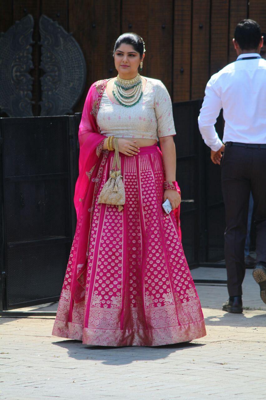 Anshula Kapoor outside the wedding venue.