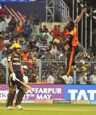 Kolkata: Carlos Brathwaite of Sunrissers Hyderabad celebrates after winning the Qualifier 2 match of IPL 2018 against Kolkata Knight Riders at the Eden Gardens in Kolkata, on May 25, 2018. (Photo: Kuntal Chakrabarty/IANS)