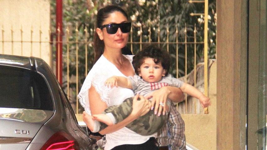 Kareena and Taimur were spotted outside Karisma Kapoor's building on Holi.