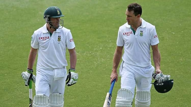 AB de Villiers shared a stand of 89 with du Plessis where they batted out 67 overs.