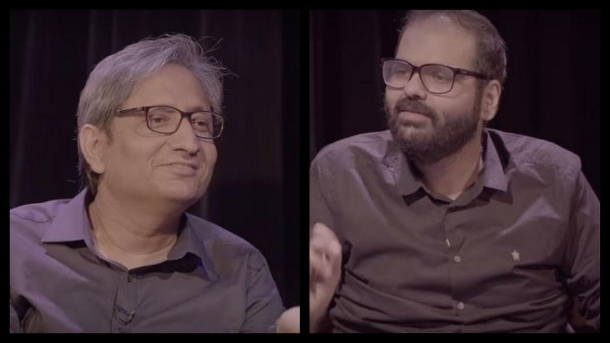Journalist Ravish Kumar in conversation with Kunal Kamra on his show, 'Shut Up Ya Kunal'.