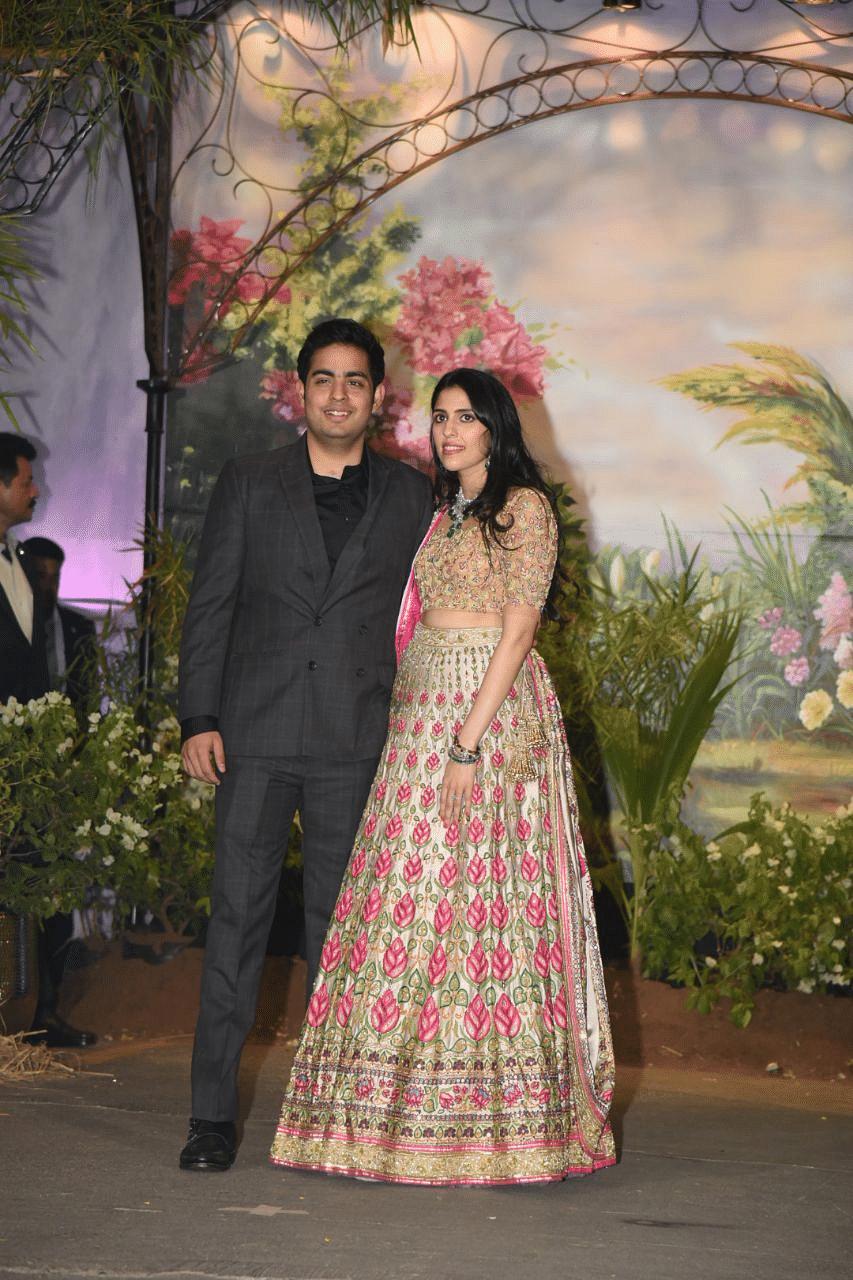 Akash Ambani arrived with fiancée Shloka Mehta