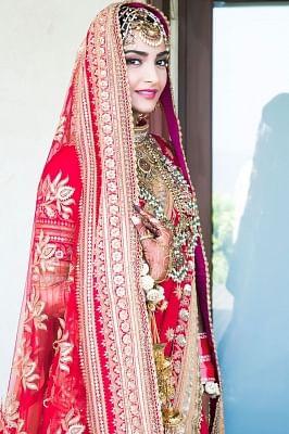 Mumbai: Actress Sonam Kapoor bridal look at her wedding with Delhi-based businessman Anand Ahuja in Mumbai on May 8, 2018. (Photo: IANS)