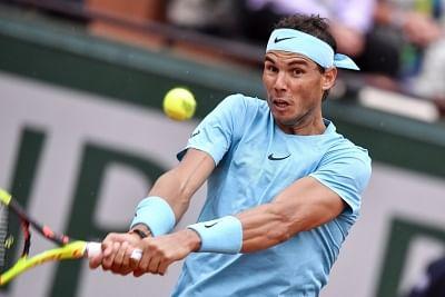 PARIS, May 29, 2018 (Xinhua) --  Rafael Nadal of Spain returns a shot during the men