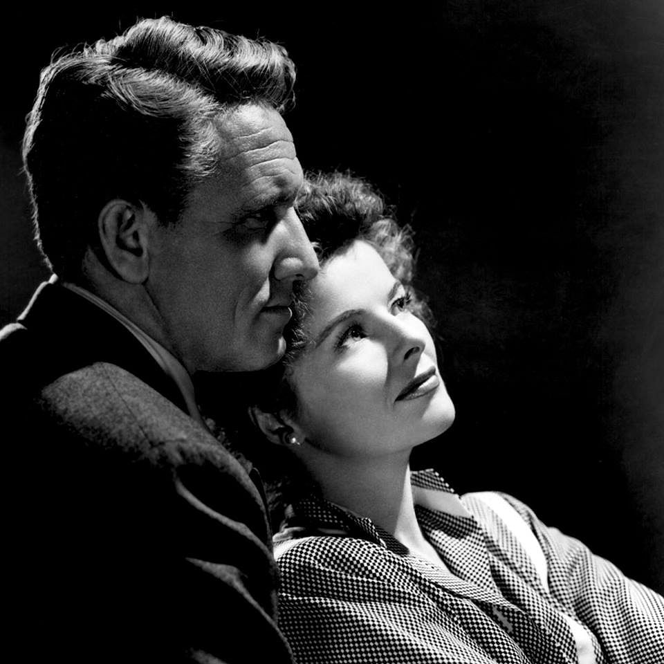 Katharine Hepburn and Spencer Tracy in a still from <i>Without Love</i>.