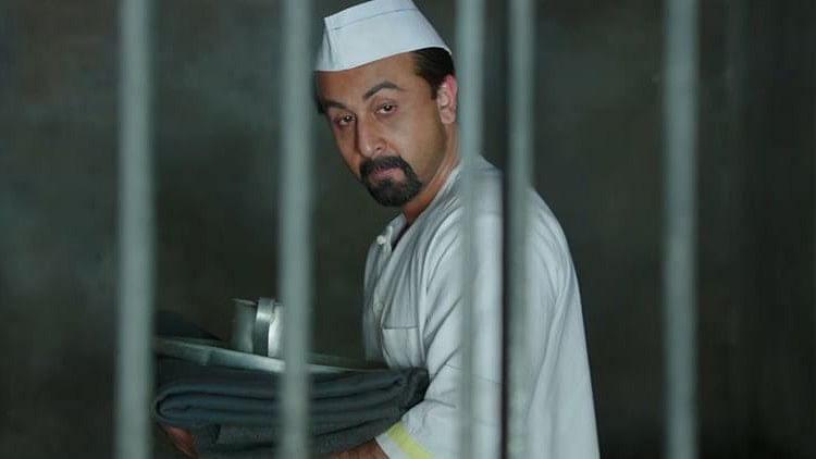 Ranbir Kapoor as Sanjay Dutt in a still from <i>Sanju</i>.